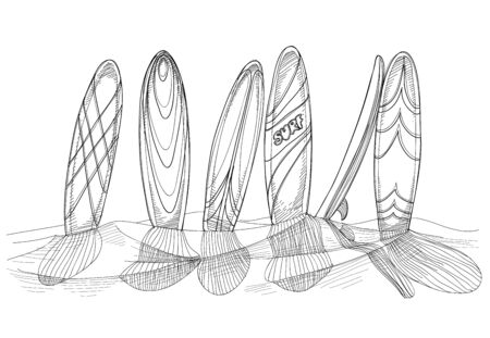 drawing board: Surfboards in sand sketch  Illustration