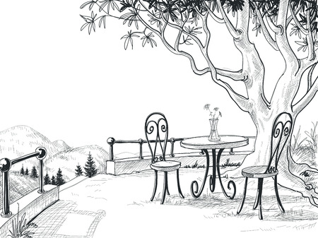 dinning table: Restaurant terrace sketch