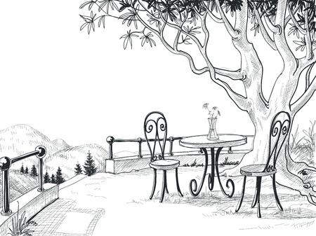 Terraza del restaurante boceto Foto de archivo - 30017405