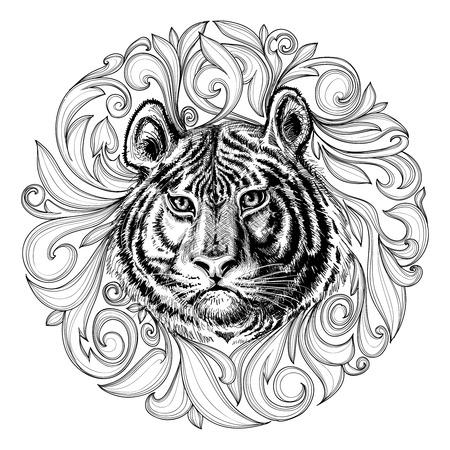 호랑이는 검은 색과 흰색 추상 장식에 직면