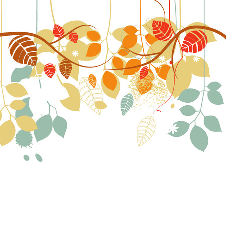 Fall background, tree branches and leaves in bright colors over white  Vector