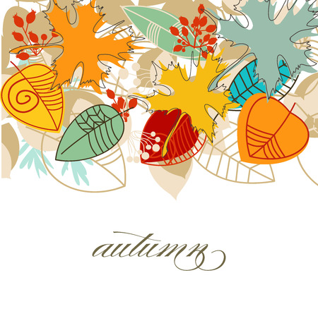 cute border: Autumn falling leaves colorful background over white  Illustration
