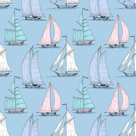 Cute boats sailing on sea seamless pattern  Vector