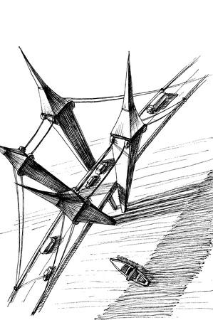 Top view of a highway bridge over river sketch  Vector