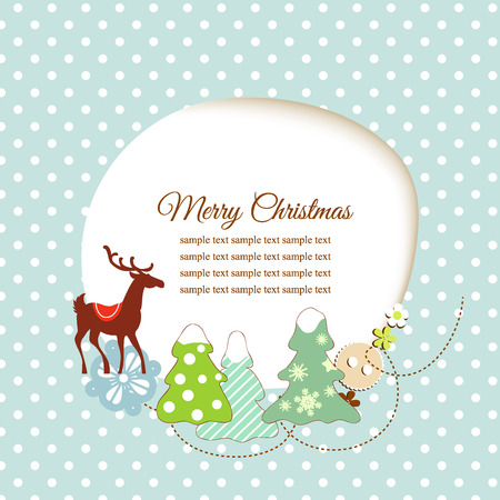 whimsy: Cute Christmas greeting card  Illustration
