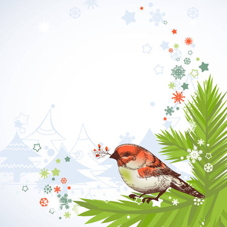 Christmas bird corner decoration  Vector