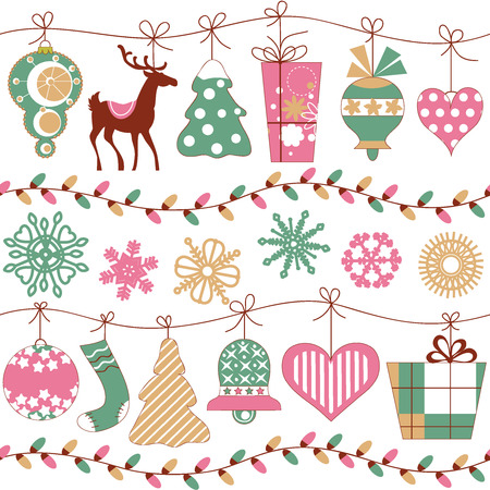 Christmas lights and icons horizontal seamless pattern  Vector
