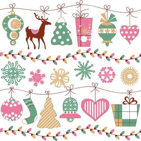 Christmas lights and icons horizontal seamless pattern  Vector