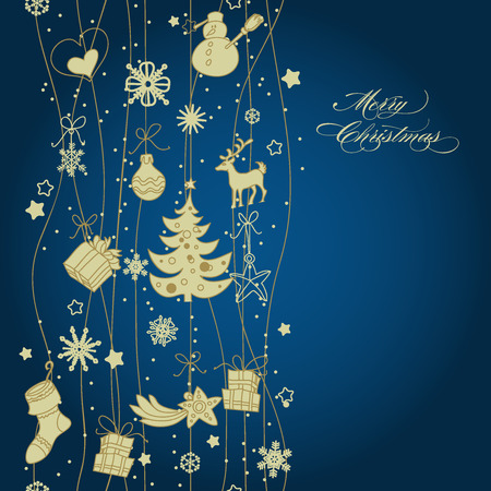 tree toys: Christmas golden vertical decoration, seamless pattern