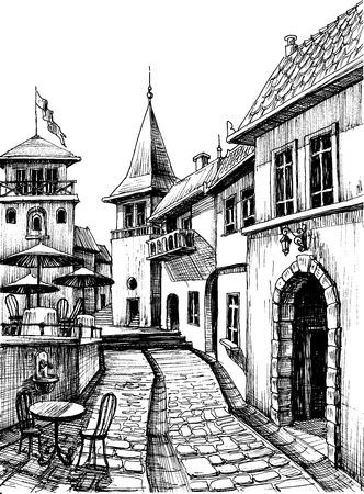 Old peaceful city drawing, restaurant terrace sketch  Ilustração