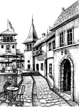 Old peaceful city drawing, restaurant terrace sketch  Illustration