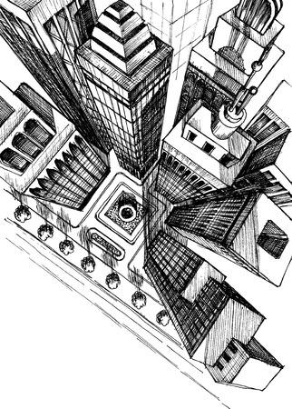perspektiv: Vy över en stad skyskrapor teckning, flygfoto skiss Illustration