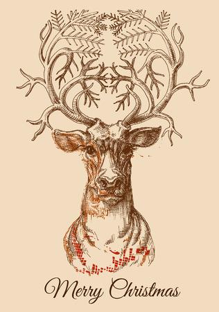 Christmas deer sketch illustration  Vector