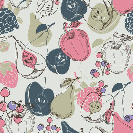 Autumn fruits seamless pattern  Vector