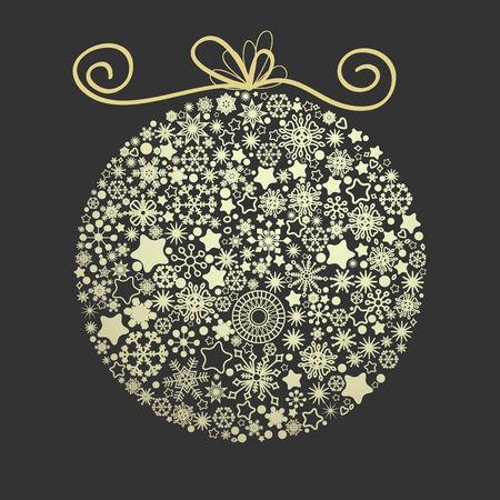 Christmas elegant golden globe made of snowflakes over dark background  Vector