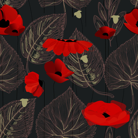 Poppy flowers and leaf seamless pattern over black  Ilustração