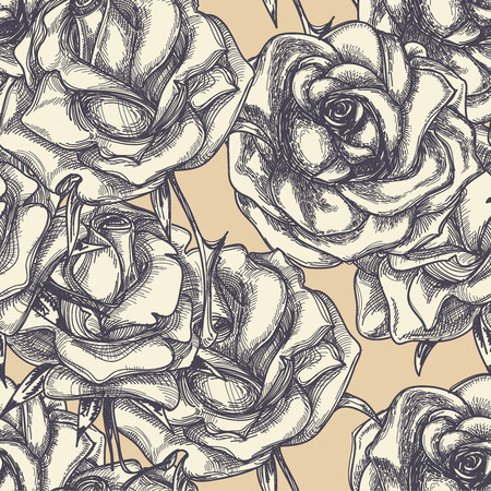 bloom: Vintage rose in fiore seamless pattern Vettoriali