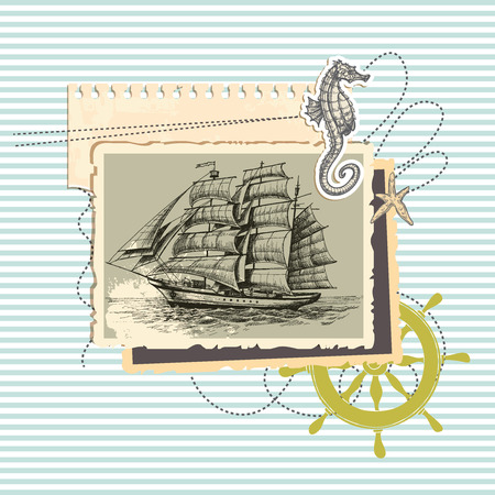 Summer memories, old ship photo and marine elements, retro scrapbook background  Vector
