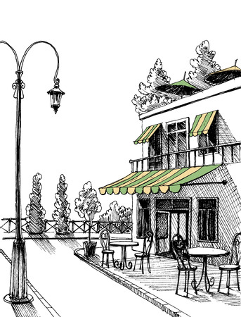 outdoor chair: Street view of a retro city restaurant terrace sketch Illustration