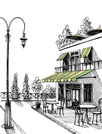 Street view of a retro city restaurant terrace sketch Stock Illustratie