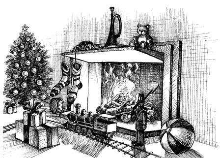 옥내의: 벽난로 옆에 크리스마스 전통 실내 장면, 장식 룸, 크리스마스 트리, 선물 용품 및 완구