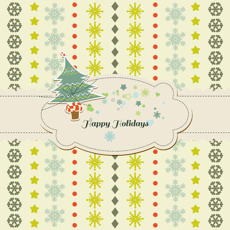Christmas  New Year cute card, Christmas tree and frame for text Vector