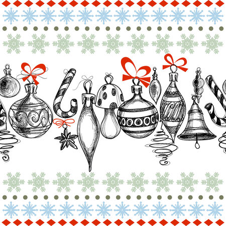Christmas background, decorations seamless pattern Vector