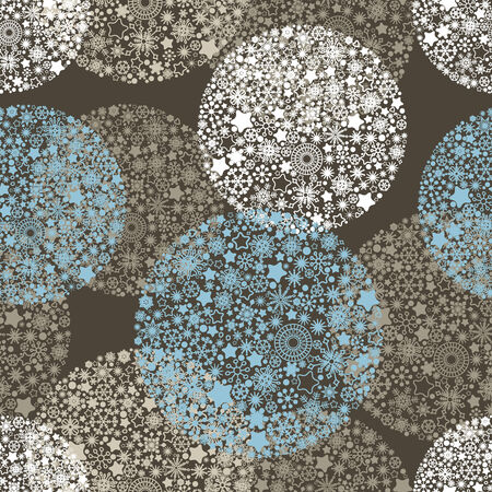 Christmas seamless pattern, balls made of snowflakes design