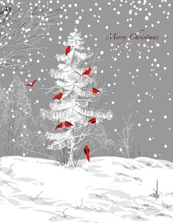 Birds Christmas tree, winter scene Vector