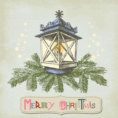 Vintage Kerstkaart, Kerst lamp en frame voor tekst Stockfoto - 33102276
