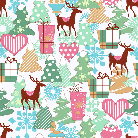 Cute Christmas seamless pattern Vector