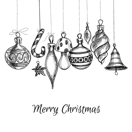a holiday greeting: Black and white Christmas hand drawn ornaments