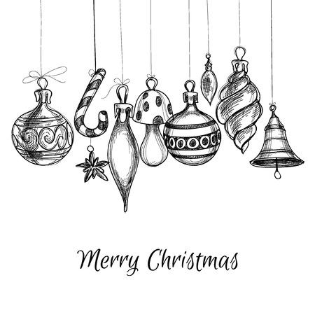 święta bożego narodzenia: Czarne i białe ozdoby choinkowe ręcznie rysowane