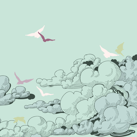 Sky background, clouds and birds flying Vector
