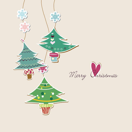 Cute Christmas trees background Vector