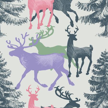albero pino: Cervi e pino foresta senza soluzione di modello, tema del Natale