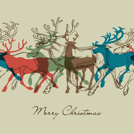鹿のシームレスなパターン、クリスマスの装飾的な背景