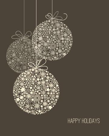 glücklich: Elegante Weihnachten Hintergrund, Schneeflocke Muster Baumkugeln