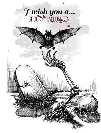 Halloween sketch design background, skeleton hand getting out of the ground and catching a bat