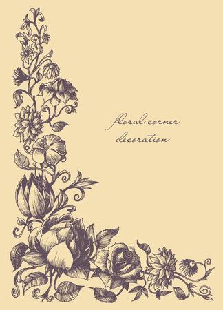Vintage stijl decoratieve grafische bloemen hoek