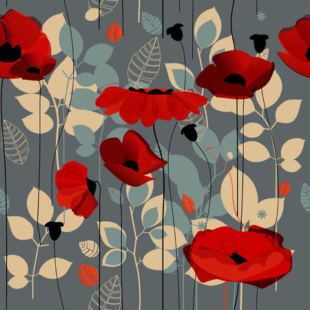 Poppy flowers seamless pattern over grey Vector