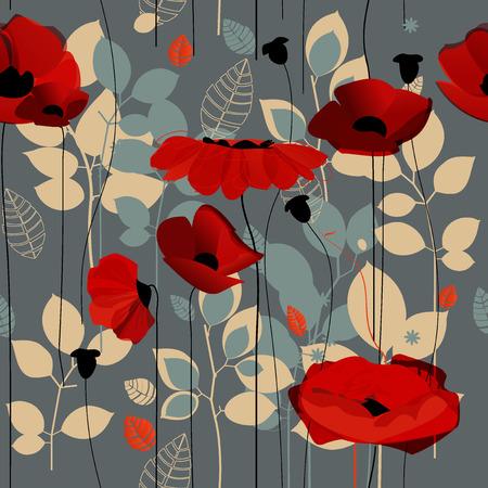Poppy flowers seamless pattern over grey Ilustracja