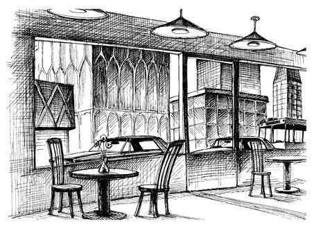 Restaurant interior vector sketch, city street view Illustration