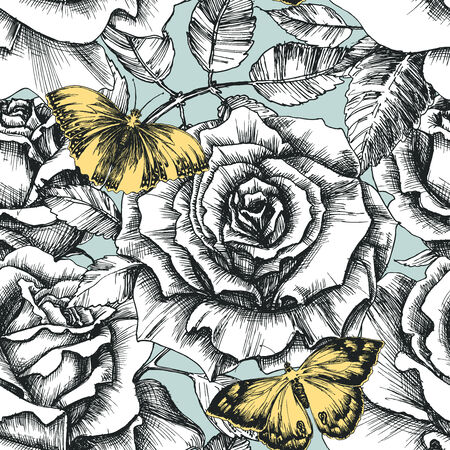 Retro flowers and butterfly seamless pattern, hand drawn roses background Vector