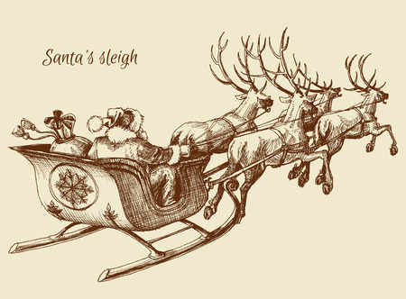 Santa Claus reindeer sleigh sketch Stock Illustratie