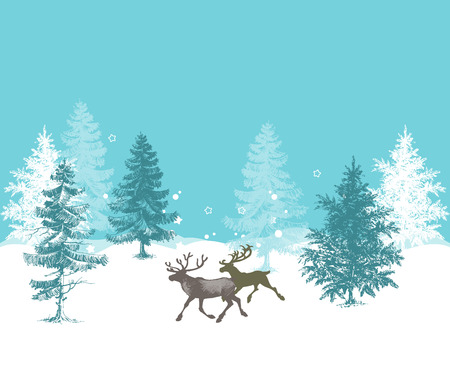 Christmas background, pine forest and deer Vector