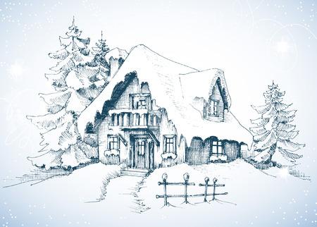 冬の牧歌的な風景と松の木、雪の中でハウス