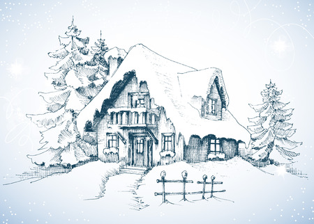 Winter idyllisch landschap, pijnbomen en huis in de sneeuw