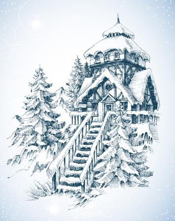 Winter de natuur, pijnbomen en huis in de sneeuw schets