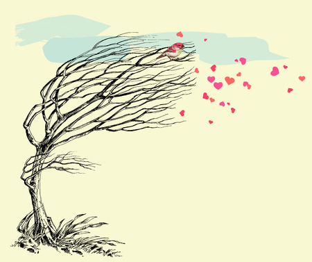 Love bird and tree without leaves in the wind. Valentines Day card Illustration